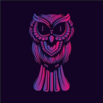 フクロウの装飾的な顔の輝きの色のアートワーク