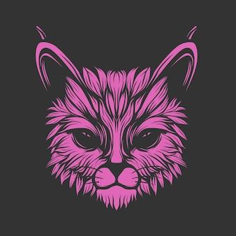 グロー紫色の猫の顔