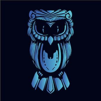 青いフクロウの頭の図