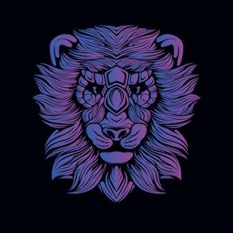 紫のライオンヘッドの図