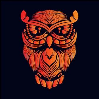 オレンジ色のフクロウの頭の図