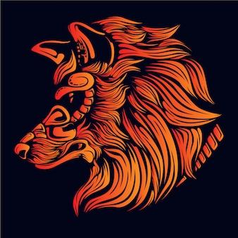 オレンジのオオカミの頭の図