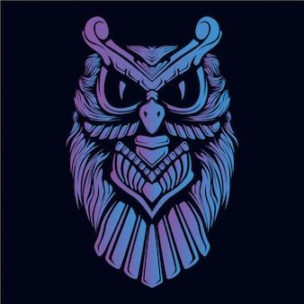 紫のフクロウの頭の図