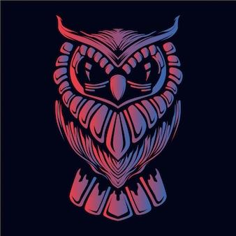 フクロウの頭の図