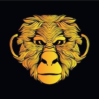 黄色い猿の頭の図