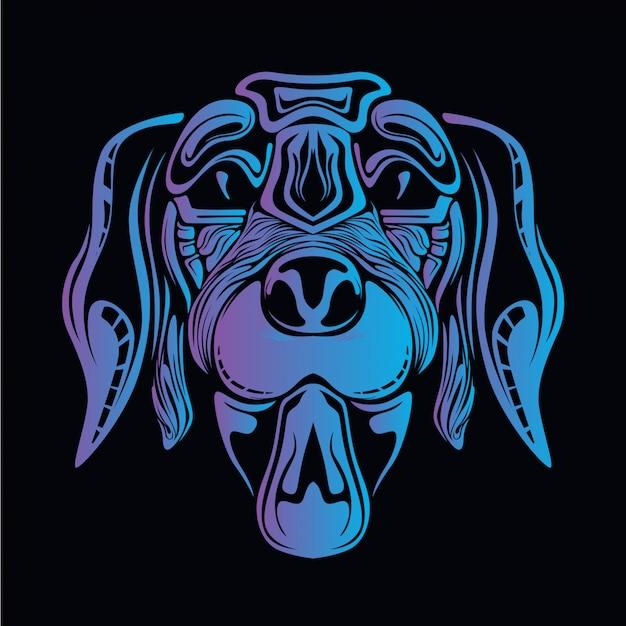 青い犬の頭の図