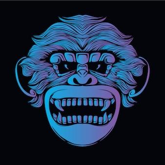 Иллюстрация головы голубой обезьяны