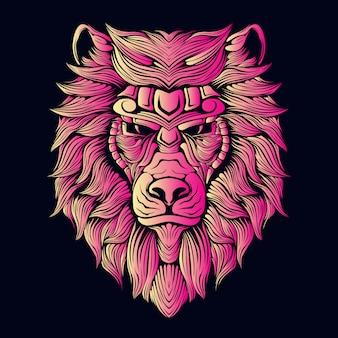 ピンクのライオンヘッドの図