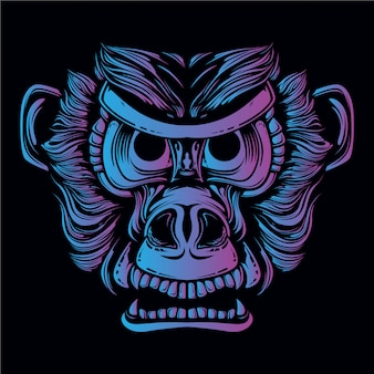 Синяя и фиолетовая иллюстрация головы обезьяны