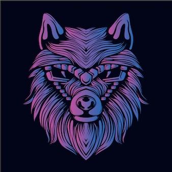紫オオカミの頭の図