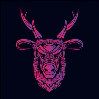 ピンクの鹿の頭の図
