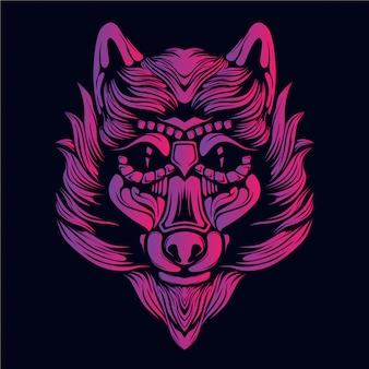 ピンクのオオカミの頭の図