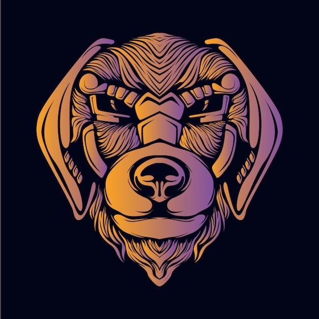 オレンジ色の犬の頭の図