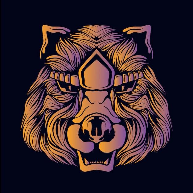 オレンジ色のクマの頭の図
