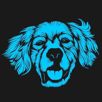 毛深い犬の顔のイラスト