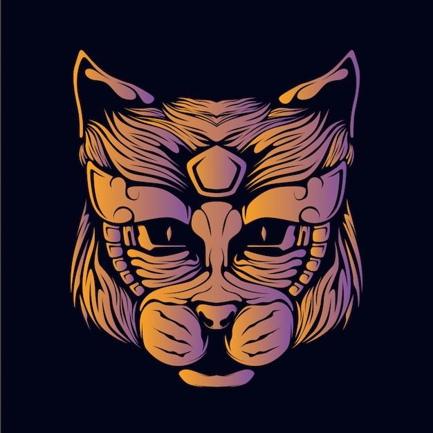 オレンジ色の猫の頭の図