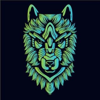 暗闇の中で装飾的な顔のオオカミ緑の輝き