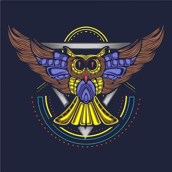 フクロウのアートワークの図