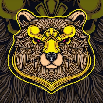 Золотая голова медведя киберспорт логотип