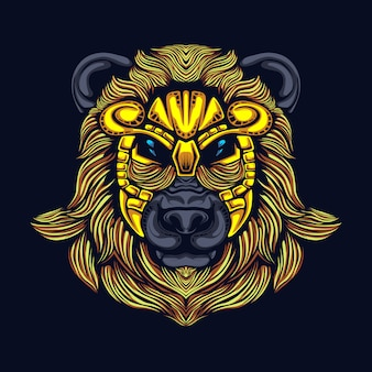 Голова медведя с маской иллюстрации