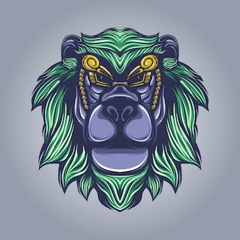 Иллюстрация художественной работы головы льва