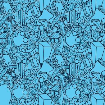 ブルーパターンの壁紙