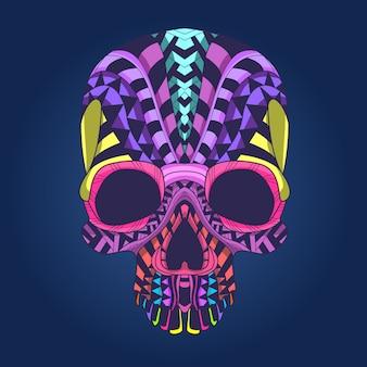 カラフルパターンの頭蓋骨の頭