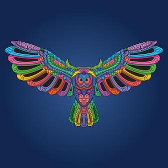 開いた翼アートワークとフクロウ