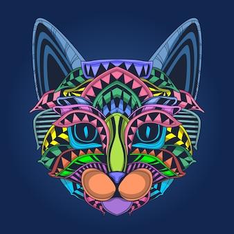 ポップカラーのかわいい猫の顔