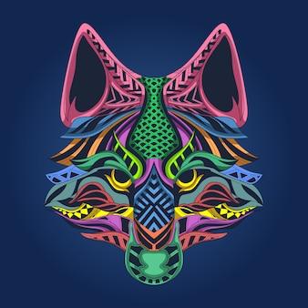 オオカミの顔のカラフルなアートワーク