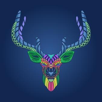 カラフルな鹿の頭