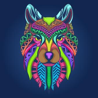 カラフルなオオカミの顔