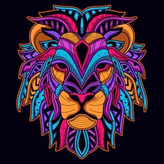 ライオンヘッドの暗いネオン色で輝く
