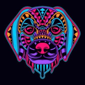 犬の頭のネオンスタイル