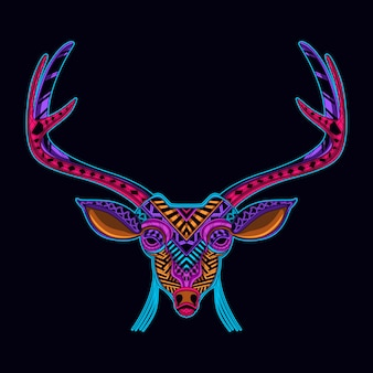 ネオンカラースタイルアートの鹿