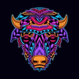 ネオンカラースタイルアートの牛の頭