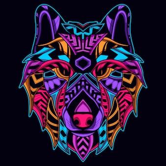 ネオンカラーのオオカミの顔