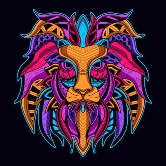 ネオンカラーのライオンの顔