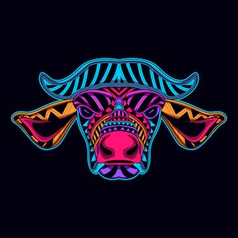 牛の頭が暗闇の中で輝く
