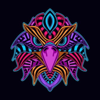 暗い鷲の頭の中の装飾的な輝き