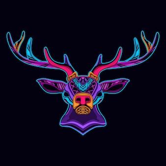 ネオンカラーの鹿