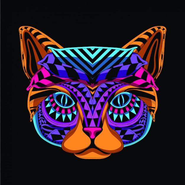 ネオンカラーの装飾的な猫