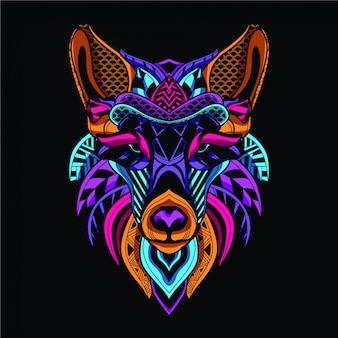 ネオンカラーの暗い装飾的なオオカミで光る