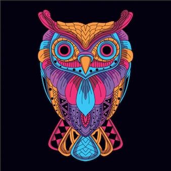 グローネオンカラーから装飾的なフクロウ