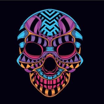 Декоративный череп из неонового цвета