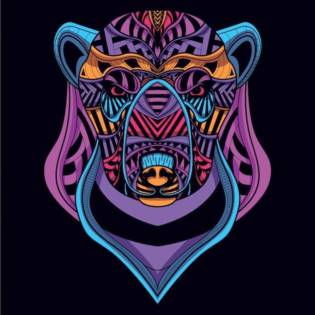 グローネオンカラーから装飾的なクマの頭