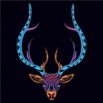ネオンカラーから装飾的な鹿の頭