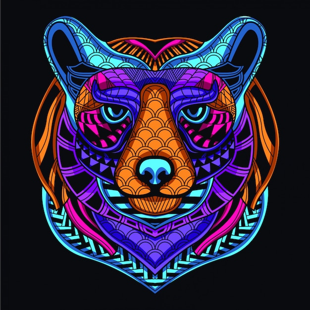 ネオンカラーから暗い装飾的なクマの頭の中で輝きます。