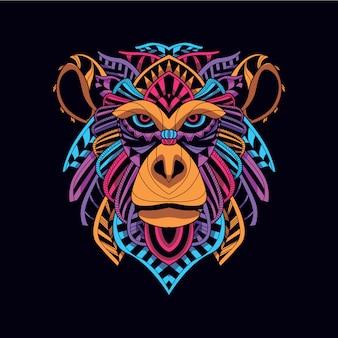ネオンカラーから暗い装飾的な猿を輝く