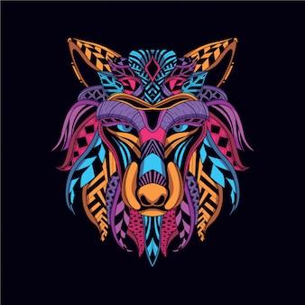 ネオンカラーから装飾的なオオカミの顔